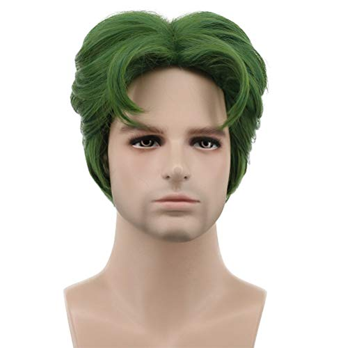 Karlery 5 Inches Short Curly Men Fluffy Dark Green Halloween Party Cosplay Costume Wig ()