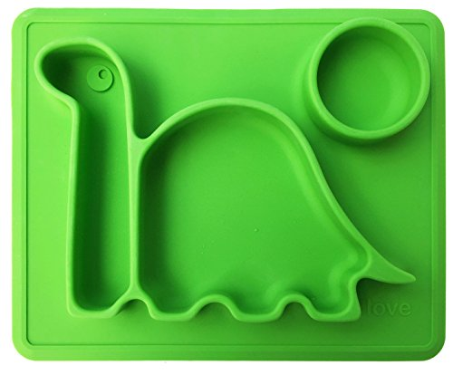 Toddler Silicone (Lilly's Love Silicone Placemat - Toddler Plates THE HAPPY DINO PAD From Freezer to Microwave to Table. Fits in a Ziplock Bag, Making It the BEST Silicone Place Mat)