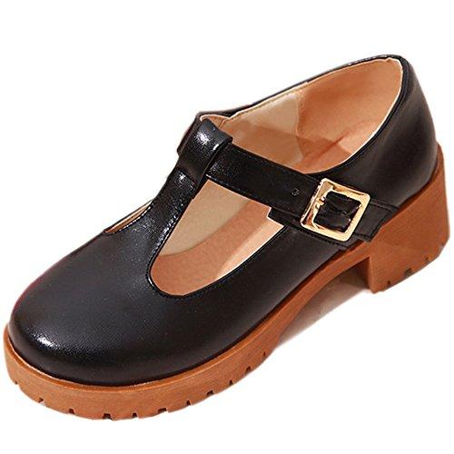Shoes Chunky Black Court Heel Fashion TAOFFEN Women's 7qxvaa