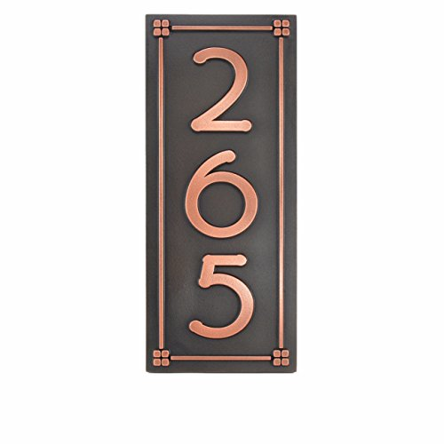 Frank Lloyd Eaglefeather Handcrafted Address Plaque 7.5x18 - Raised Copper Metal Coated by Atlas Signs and Plaques