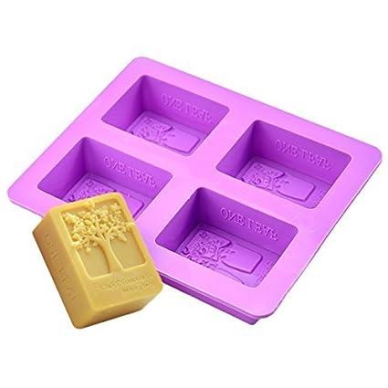 Pastel de silicona Romote 4-cavidad rectangular Árbol de bricolaje casero jabón molde de la