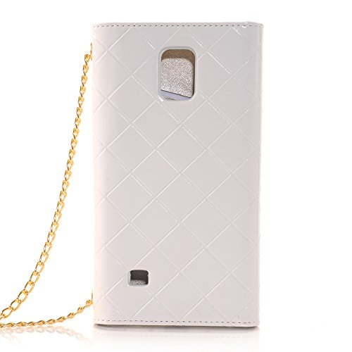 Note 4 Case KINGCOOL(TM) Premium Luxury Purse Leather Wallet Handbag Case Cover for Women with Detachable Shoulder Chain Strap Compatible with Samsung Galaxy Note 4(White)