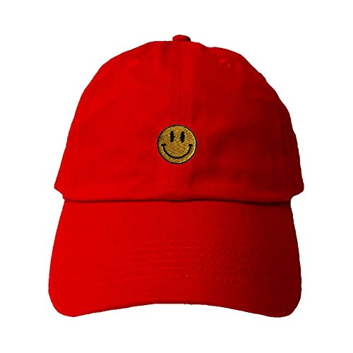 Go All Out Screenprinting Adjustable Red Adult Smiley Face Embroidered Dad Hat Adj Face