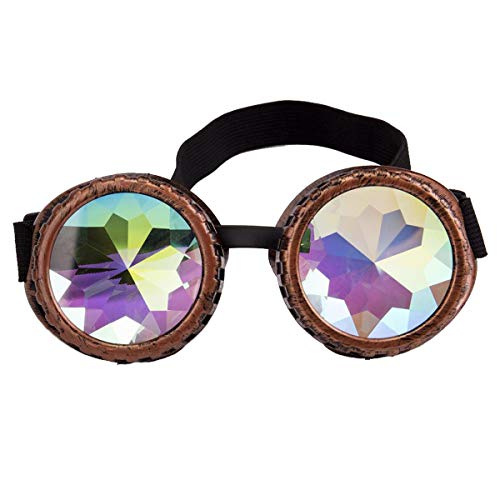 Kaleidoscope Rave Goggles Steampunk Glasses with Rainbow Crystal Glass Lens - stylishcombatboots.com