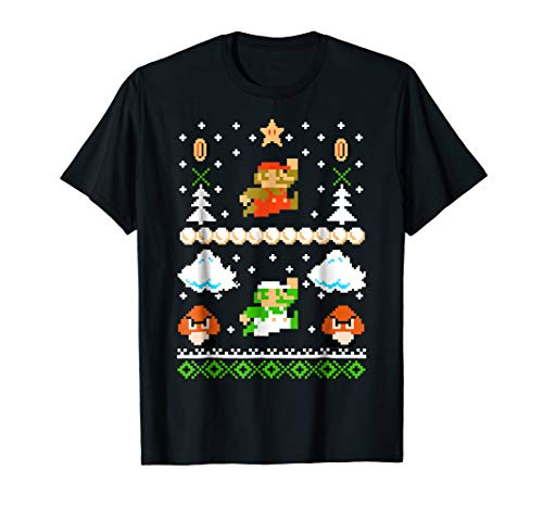 Super Mario Mario Goomba Ugly Christmas Sweater T-Shirt ()