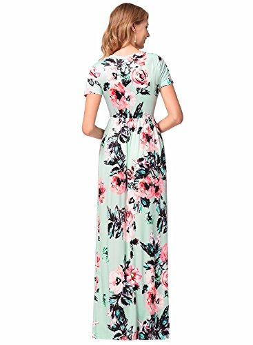 damas bolsillos floral de vestido de Las Party corta Verde noche manga mujeres vestido de Boho Maxi de con impresión 1xxwHvtTq