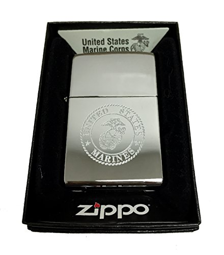 Zippo Custom Lighter - United States Marines Laser Engraved with Earth Anchor Eagle Logo - Regular High Polish Chrome (Eagle High Polish)