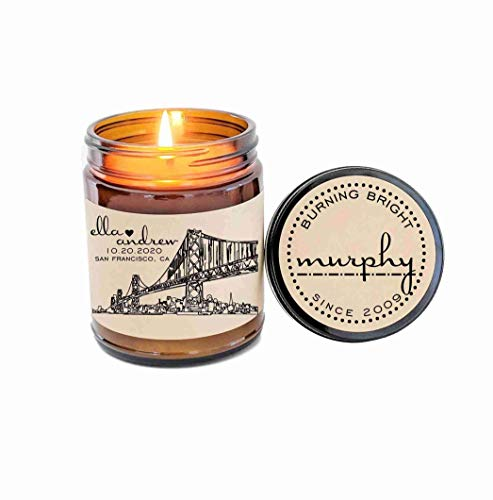 (Unique Wedding Gift Personalized Candle Gift for Couple City Skyline Best Wedding Gift Holiday Gift Soy Candle Christmas Gift for Couple)