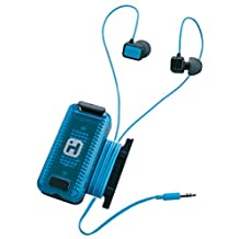 Sound Design iHome iB12BL Fitness Earbuds with Clip-On LED Safety Flasher and Cord Wrap Black/Blue