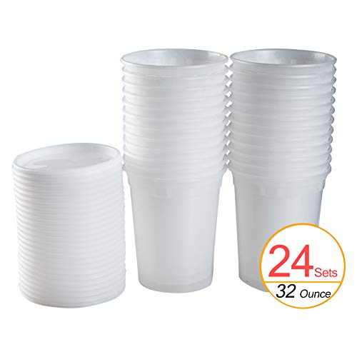 TashiBox 32oz (24 Sets) Plastic Microwavable Food Storage Containers with Lids, 32 oz, BPA Free