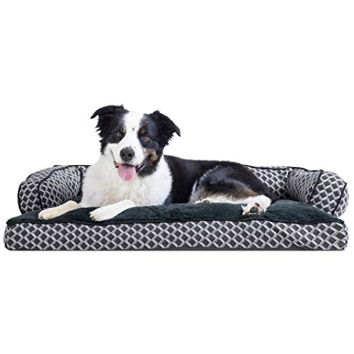 Comfy Pet Couch - FurHaven Pet Dog Bed | Plush & Décor Comfy Couch Pillow Sofa-Style Couch Pet Bed for Dogs & Cats, Diamond Gray, Large