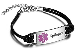 JF.JEWELRY Epilepsy Medical Alert ID Bracelet with Black Leather Link, Adjustable 7-9 inch