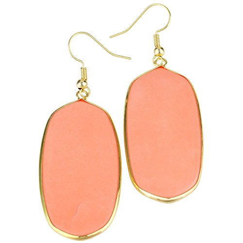 rockcloud Orange Howlite Turquoise Stone Dangle Hook Earrings Oval Gold Plated ()