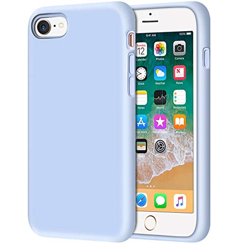 "iPhone 8 Case, Anuck Non-Slip Liquid Silicone Gel Rubber Bumper Case with Soft Microfiber Lining Cushion Hard Shell Shockproof Full-Body Protective Case Cover for Apple iPhone 7/8 4.7"" - Light Blue"