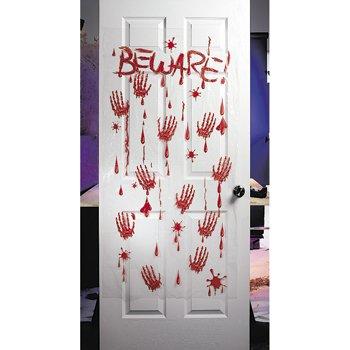 bloody beware plastic halloween wall or door decor 5 feet x 30 inch - Halloween Wall Decorations