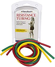 TheraBand Resistance Tube Set, Professional Latex Elastic Tubing for Upper & Lower Body, Core Exercise, Ph