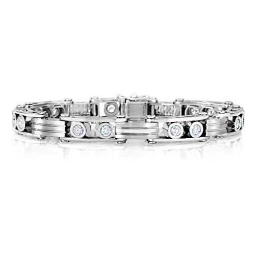 14k White Gold Men's Diamond Link Bracelet Rolex Style, 2.64 CTW F-G VS Diamonds, 9 mm wide, 8.5 In.
