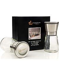 Buy #1 Best Salt and Pepper Grinder Set - Deluxe Stainless Steel Mills, Glass Bottle, Adjustable Ceramic Grinding... compare
