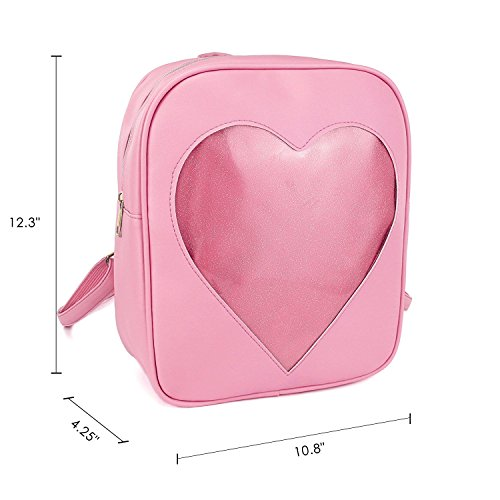Girls Kawaii Bling Transparent Love Star School Bag Backpack (Pink) by XSCOMSPORT (Image #1)