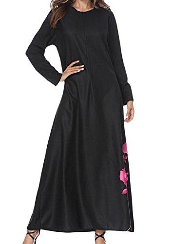 Coolred Floral Kaftan Print Islamic Women Muslim Dress Long Black Dubai FxwqFvar