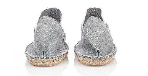 Espadrij Unisex Schuhe Damen und Herren, Classic, Gemütliche, Klassische Espadrilles Aus Canvas mit Wasserabweisender Jutesohle Gris