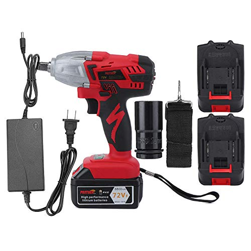 - 8800mAh Electric Cordless Rechargeable Impact Wrench 320Nm High Torque with 2 Li-ion Batteries