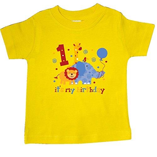 - inktastic - Safari 1st Birthday Baby T-Shirt 18 Months Yellow 60e4