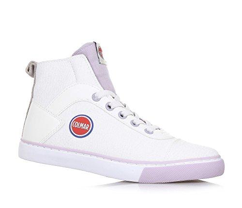 COLMAR - Sneaker à lacets blanche et lila, en tissu et cuir, avec fermeture éclair latérale, logo sur la languette, fille, filles, femme, femmes