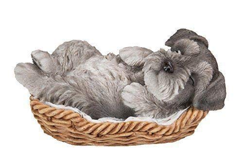 Collectible Figurine Dog (ShopForAllYou Figurines and Statues Mini Schnauzer Puppy in Wicker Basket Pet Pals Collectible Dog Figurine)