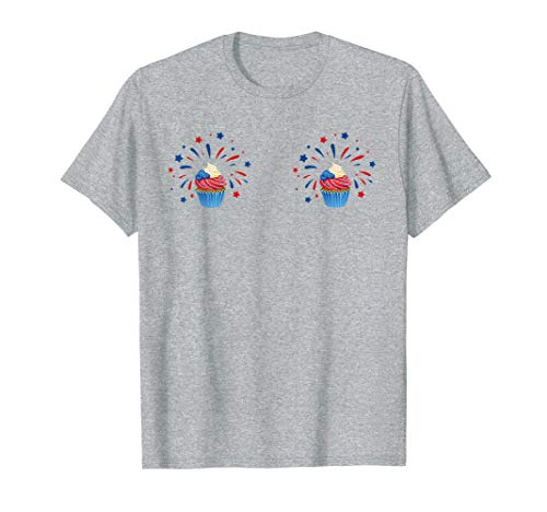 Cupcake Boobs T Shirt July 4th Foodie Frosting & Sprinkles