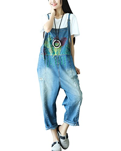 (Yeokou Women's Casual Loose Denim Overalls Oversized Baggy Wide Leg Harem Pants (One Size US S-L, Style 34 Blue))