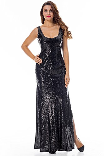 5d17270fd4e PARTY LADY Women s Fashion Sequins High Split Sexy Party Club Long Dress  Bridesmaid Dress Prom Evening Gowns