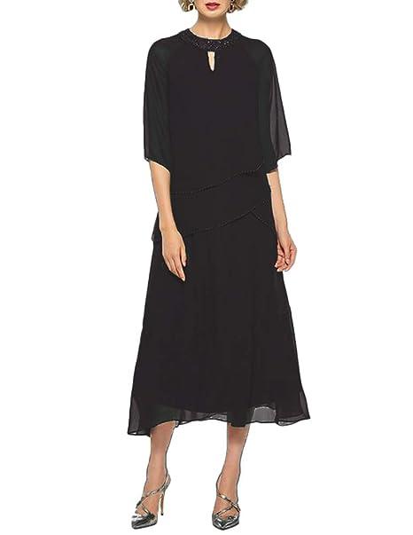 Amazon.com: Vestido de media manga para mujer, color negro ...