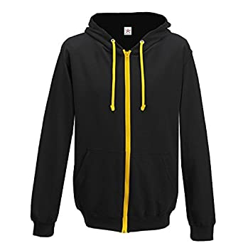 a1fff1265caf Contrast BLACK with GOLD full zip Hoodie Large  Amazon.co.uk  Clothing