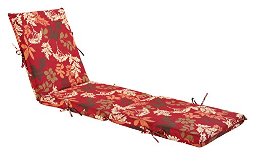 Bossima Indoor/Outdoor Red/brown Floral Chaise Lounge Cushion,Spring/Summer Seasonal Replacement Cushions. For Sale