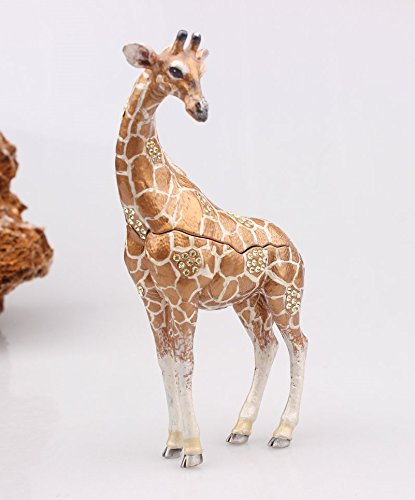 Elegant Giraffe Trinket Box Crystals Enameled Animal Giraffe Trinket or Pill Box Ring Holder Jewelry Boxes Organizer Display (7x4.5x13 cm) - Enameled Giraffe