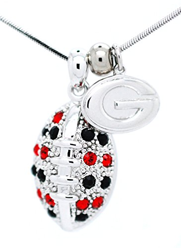 (University of Georgia Football Necklace - Large - Red and Black Crystal - BULLDOGS)