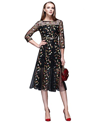 Fitaylor Women's Floral Embroidered Sheer Evening Cocktail Dress (4) ()