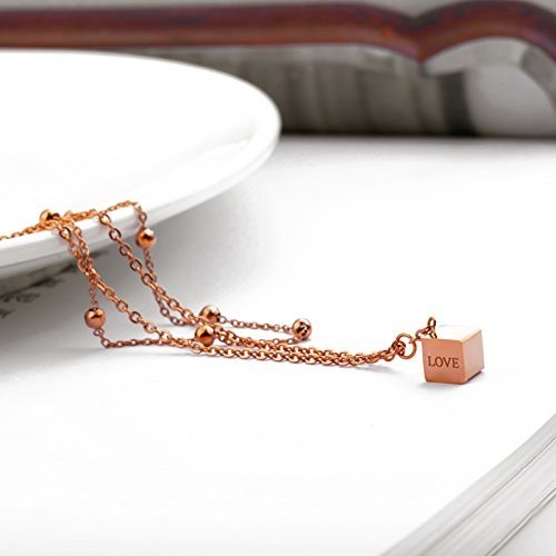 Beydodo Rose Gold Ankle Bracelet 11 Inch Rose Gold Anklet Stainless Steel Cube LOVE Double Chain Anklet by Beydodo (Image #3)