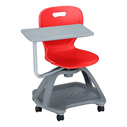 Learniture Shape Series Mobile Tablet Arm Chair with Book Storage, Red/Gray, LNT-NES3018STRD-PK-SO ()