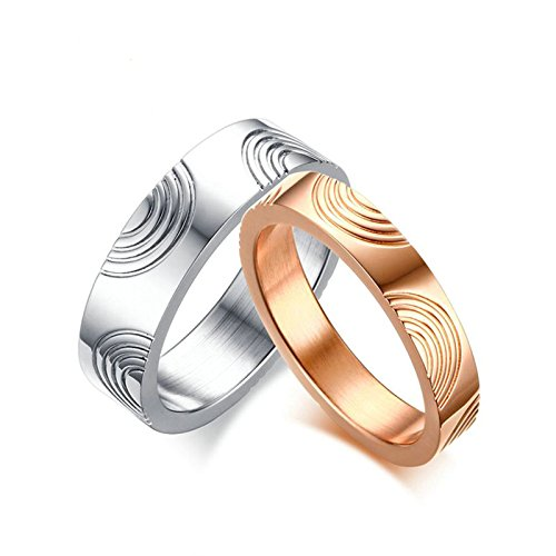Aokarry (Women Couples Ring Men Women Stainless Steel Wedding Bands Ring Flow Pattern Rose Gold Size 8 ()