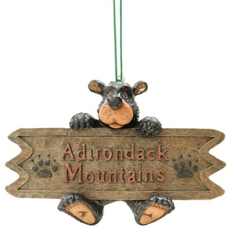 Adirondack Mountains Sign Bear Collectible Ornament, ()