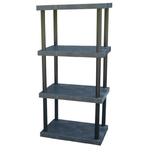 DuraShelf Solid Top Plastic Shelving 36 24 4-Shelf System Black - Dura Shelf Shelving