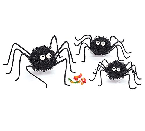 Halloween Decor Round Fuzzy Black Spiders with Bendable Legs Assorted (Set of -