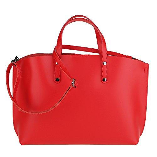 Cm Rojo Cuero Made 47x30x14 Genuino Mujer En Borse Italy Chicca In Bolsa qvBx7O