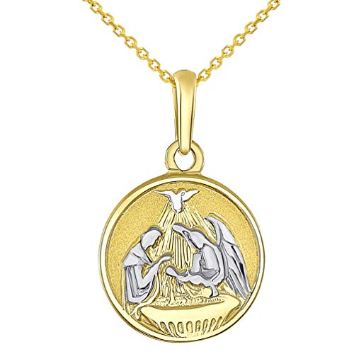 Solid 14k Yellow Gold Round Holy Spirit Baptism Charm Christening Pendant Necklace, 22