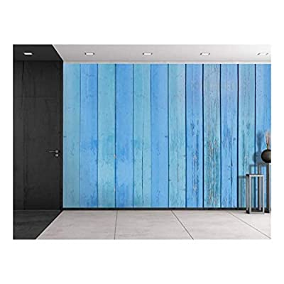 Ocean Blue and Sky Blue Wood Panels Alternating Along a Wall Wall Mural, Created By a Professional Artist, Dazzling Piece