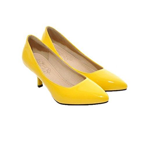 di Flats Ballet Medio Giallo A Punta Scarpe VogueZone009 Donna Puro Tacco Pelle Maiale vxnwwtPZY7