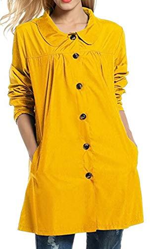 Snone Impermables  Capuche Adulte Femme Veste de Pluie avec Capuche Coupe Vent Veste Collier de Poupe Section Moyenne et Longue Veste Coupe  Capuche Impermable Veste D'extrieur Jaune