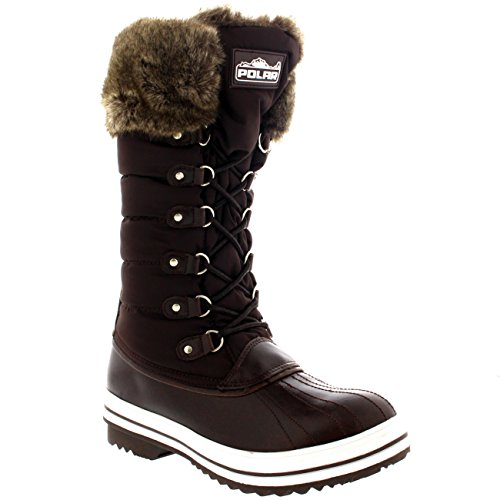 Zip Womens Side POLAR Brown Rain Muck Duck Waterproof Warm Snow Nylon Boots Winter qaTqxdwI
